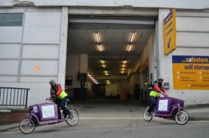 2 bikes leaving